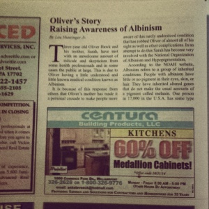 Meet The Blind has made our small local weekly paper.